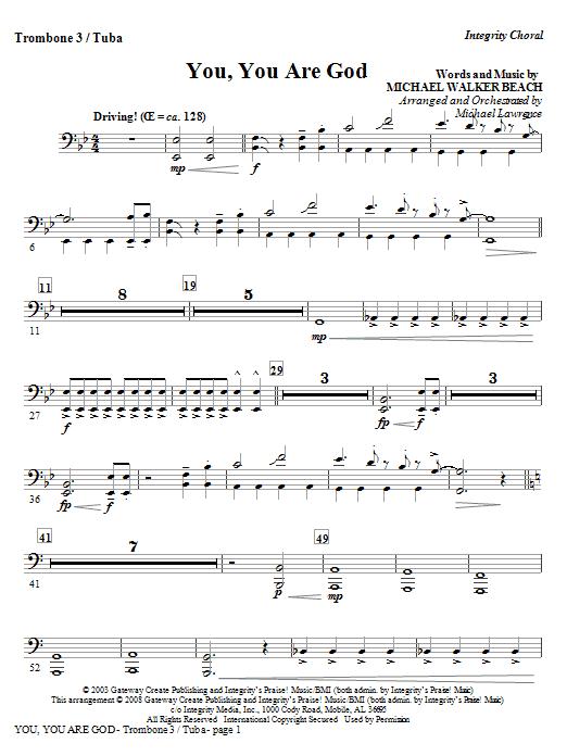 You, You Are God - Trombone 3/Tuba (Choir Instrumental Pak)