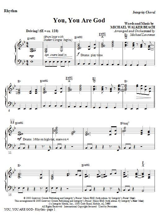 You, You Are God - Rhythm (Choir Instrumental Pak)