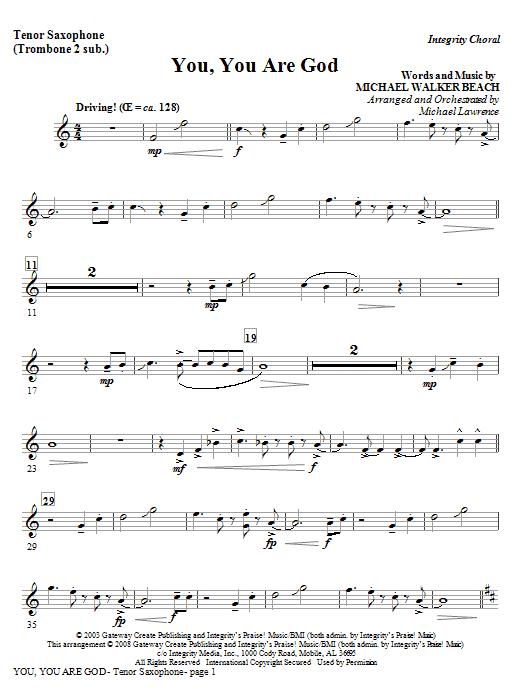 You, You Are God - Bb Tenor Sax/Bar. TC (Trb 1,2) Sheet Music