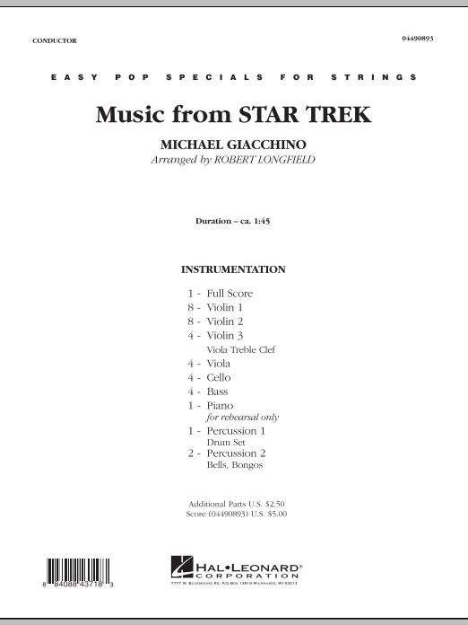Music from Star Trek (COMPLETE) sheet music for orchestra by Robert Longfield. Score Image Preview.