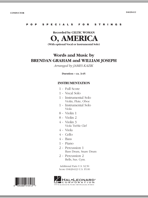 O, America (COMPLETE) sheet music for orchestra by James Kazik, Brendan Graham, Celtic Woman and William Joseph. Score Image Preview.