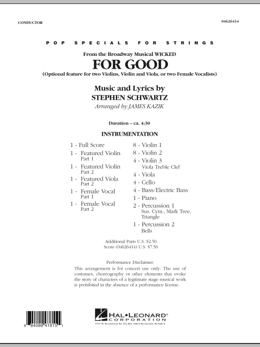 For Good (Duet Feature from Wicked) (COMPLETE) sheet music for orchestra by James Kazik and Stephen Schwartz. Score Image Preview.