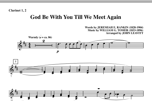 God Be With You Till We Meet Again - Bb Clarinet 1 & 2 Sheet Music