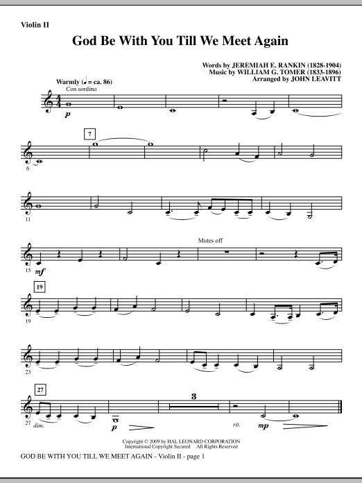 God Be With You Till We Meet Again - Violin 2 Sheet Music
