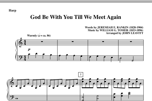 God Be With You Till We Meet Again - Harp Sheet Music