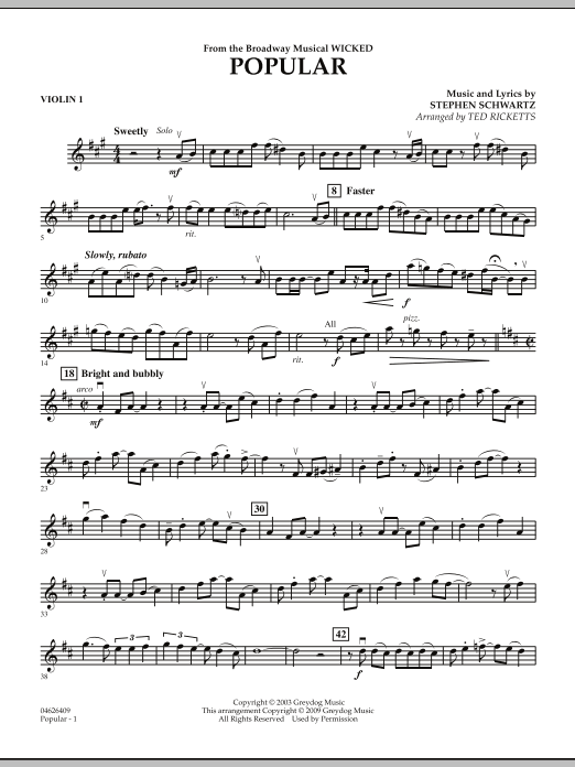 """Popular (from """"Wicked"""") - Violin 1 (Orchestra)"""
