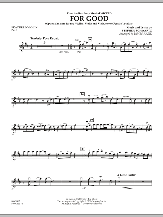 For Good (Duet Feature from Wicked) - Featured Violin Part 1 (Orchestra)