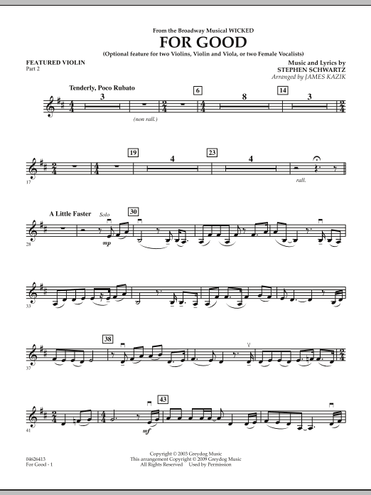 For Good (Duet Feature from Wicked) - Featured Violin Part 2 (Orchestra)