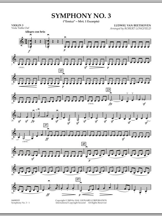 """Symphony No. 3 (""""Eroica"""" - Mvt. 1 Excerpts) - Violin 3 (Viola Treble Clef) (Orchestra)"""