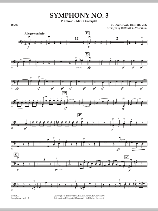 """Symphony No. 3 (""""Eroica"""" - Mvt. 1 Excerpts) - Bass (Orchestra)"""