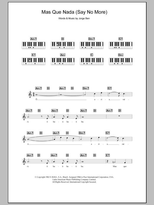 Mas Que Nada (Say No More) (Piano Chords/Lyrics)