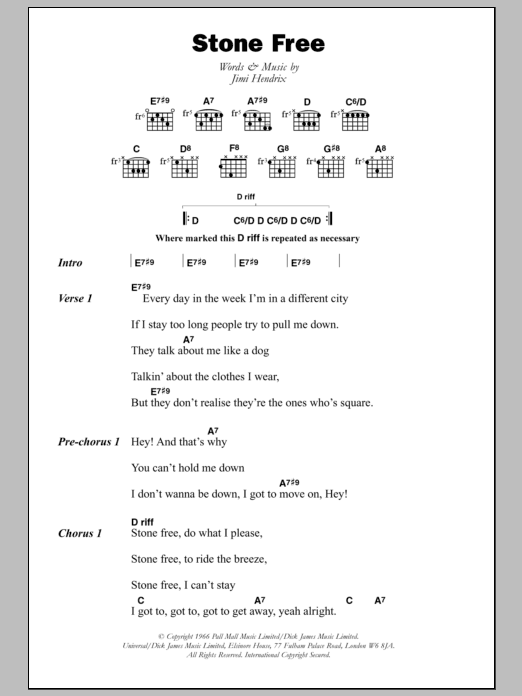 Stone Free by Jimi Hendrix - Guitar Chords/Lyrics - Guitar Instructor