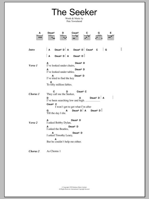 The Seeker Sheet Music