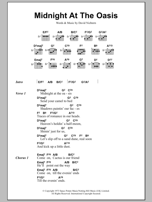 Midnight At The Oasis Sheet Music Maria Muldaur Lyrics Chords
