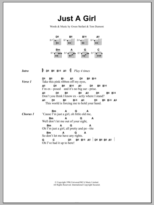 Just A Girl by No Doubt - Guitar Chords/Lyrics - Guitar Instructor