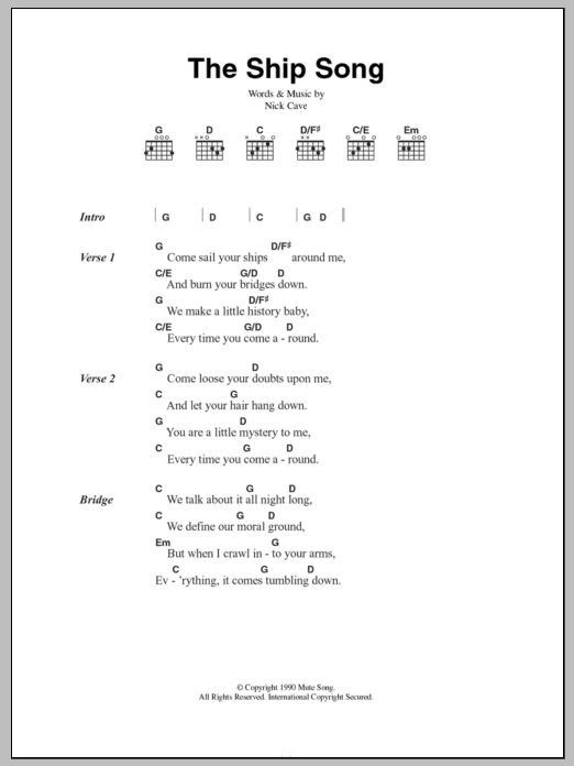 The Ship Song Sheet Music