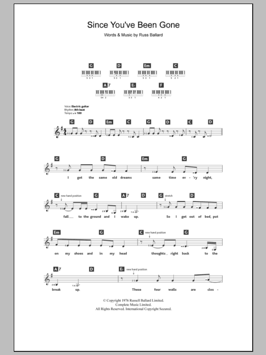 Since Youve Been Gone Sheet Music Rainbow Keyboard