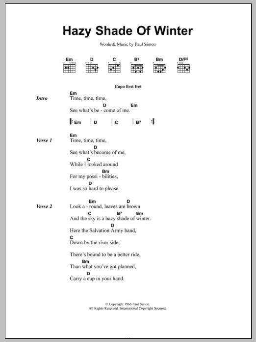 A Hazy Shade Of Winter by Simon & Garfunkel - Guitar Chords/Lyrics ...