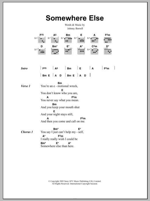 Somewhere Else Sheet Music