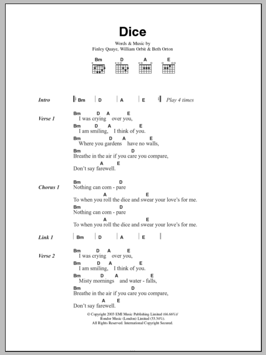 Dice Sheet Music