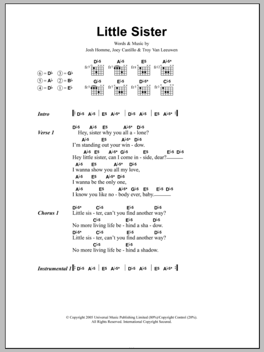 Little Sister by Queens Of The Stone Age - Guitar Chords/Lyrics ...