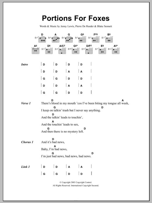 Portions For Foxes Sheet Music
