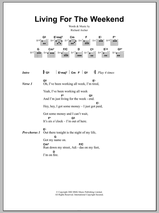 Living For The Weekend Sheet Music