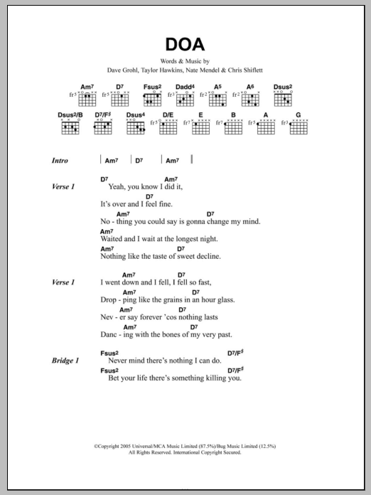 DOA Sheet Music