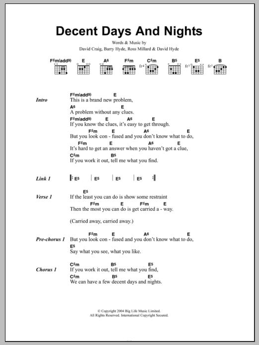 Decent Days And Nights Sheet Music The Futureheads Lyrics Chords