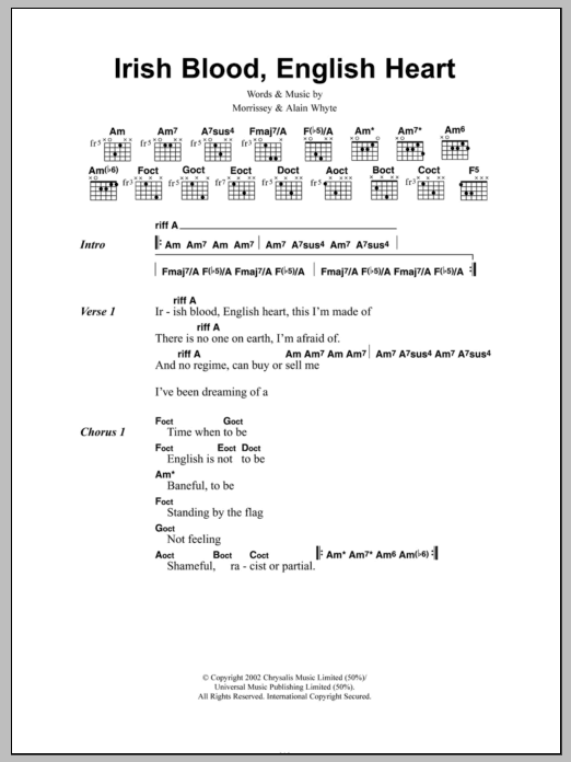 Irish Blood, English Heart by Morrissey - Guitar Chords/Lyrics ...