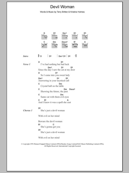 Devil Woman Sheet Music