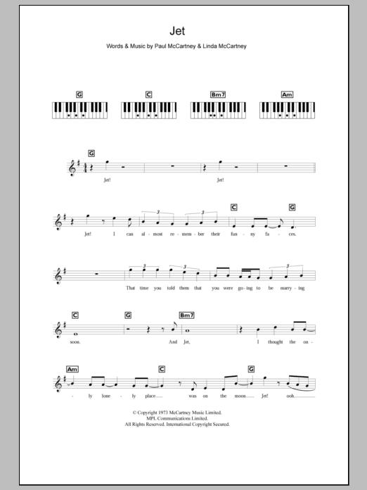 Jet (Piano Chords/Lyrics)
