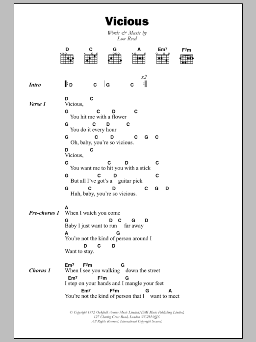 Vicious By Lou Reed Guitar Chordslyrics Guitar Instructor