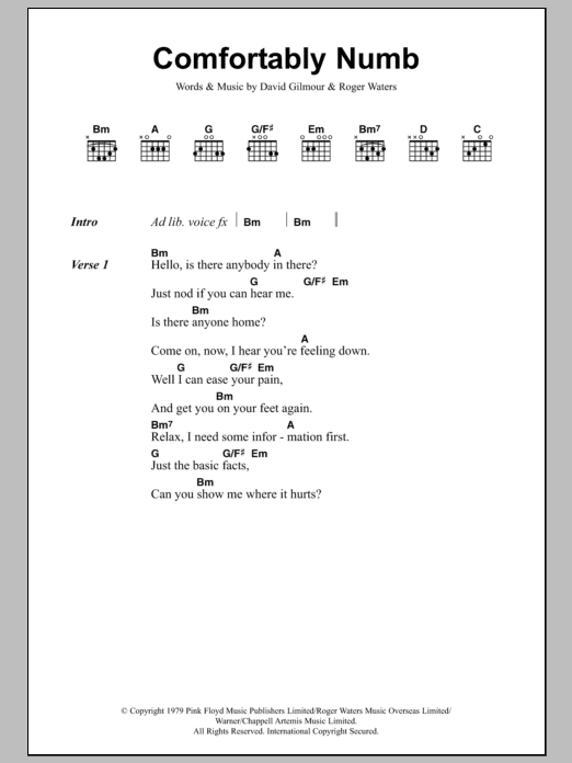 Comfortably Numb Pink Floyd Lyrics Chords