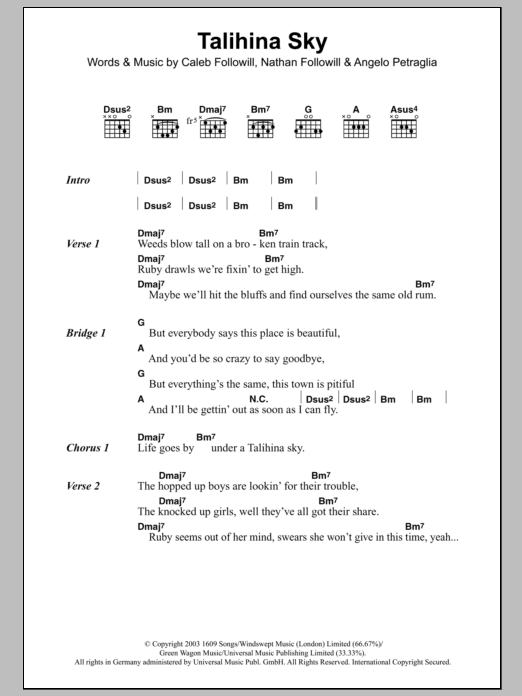 Talihina Sky Sheet Music Kings Of Leon Lyrics Chords
