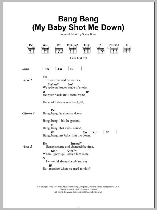 He shot me down chords