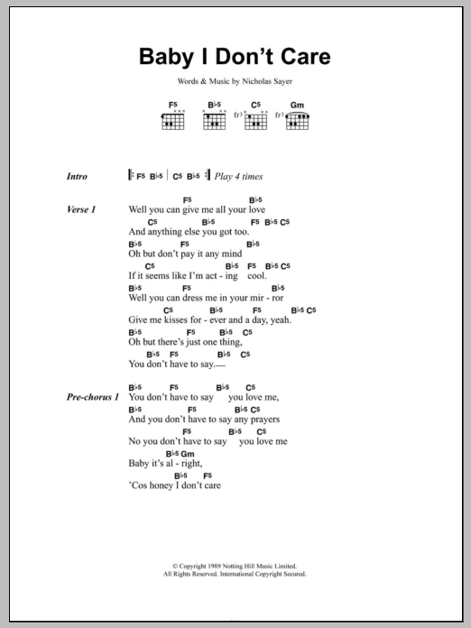 Baby I Don't Care Sheet Music