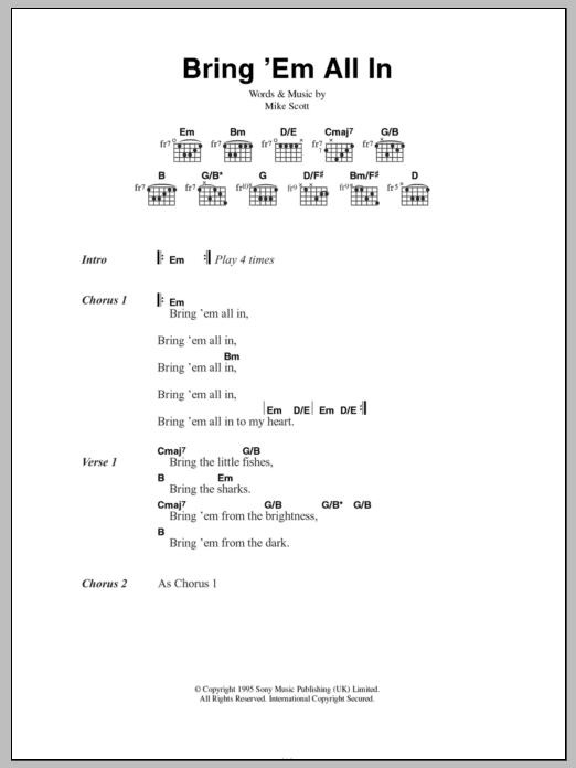 Bring \'Em All In by Mike Scott - Guitar Chords/Lyrics - Guitar ...