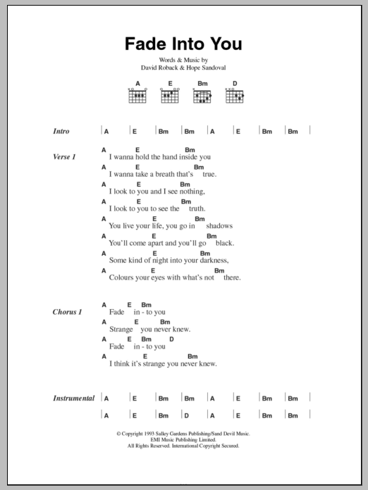 Fade Into You by Mazzy Star - Guitar Chords/Lyrics - Guitar Instructor