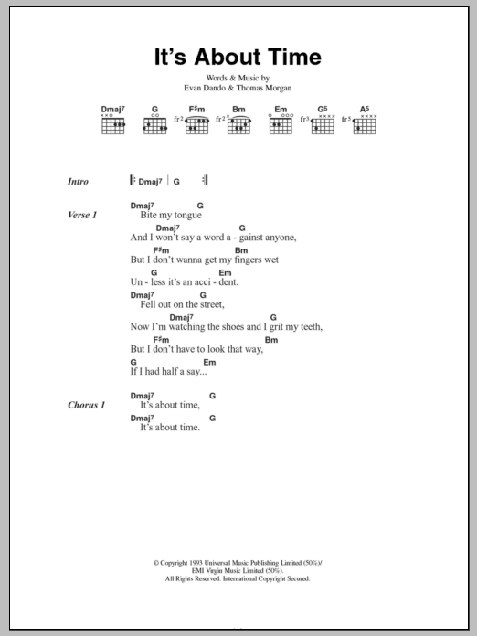 Its About Time Sheet Music The Lemonheads Lyrics Chords
