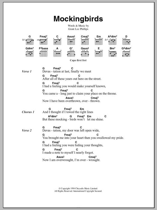 Mockingbirds by Grant Lee Buffalo - Guitar Chords/Lyrics - Guitar ...