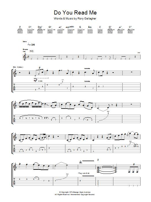 Do You Read Me (Guitar Tab)