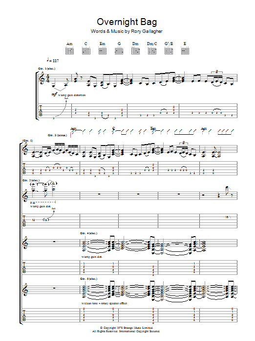 Overnight Bag (Guitar Tab)