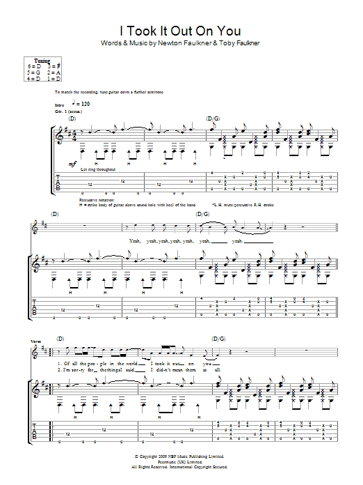 I Took It Out On You (Guitar Tab)