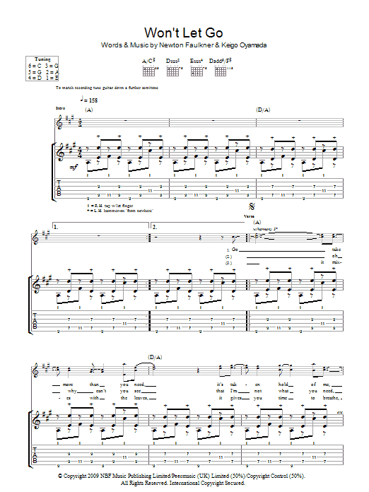 Won't Let Go (Guitar Tab)