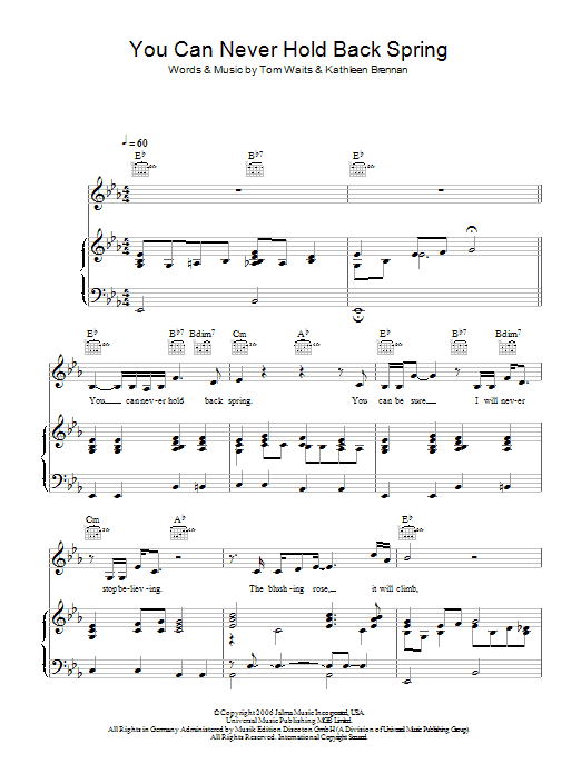 You Can Never Hold Back Spring Sheet Music
