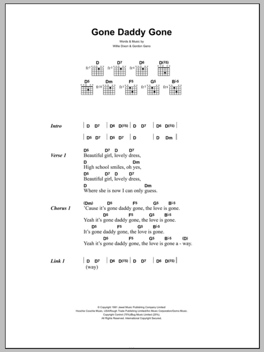 Gone Daddy Gone Sheet Music Gnarls Barkley Lyrics Chords