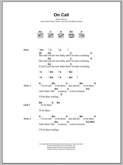 On Call Sheet Music