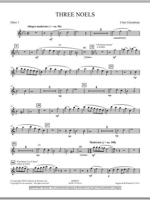 Three Noels - Oboe 1 (Full Orchestra)