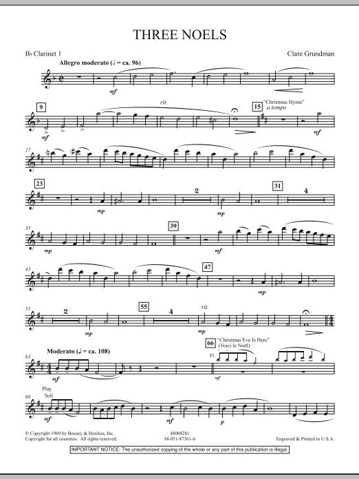 Three Noels - Bb Clarinet 1 (Full Orchestra)